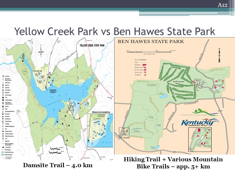 Yellow Creek Park vs Ben Hawes State Park A12 Damsite Trail – 4.0 km Hiking Trail + Various Mountain Bike Trails – app.