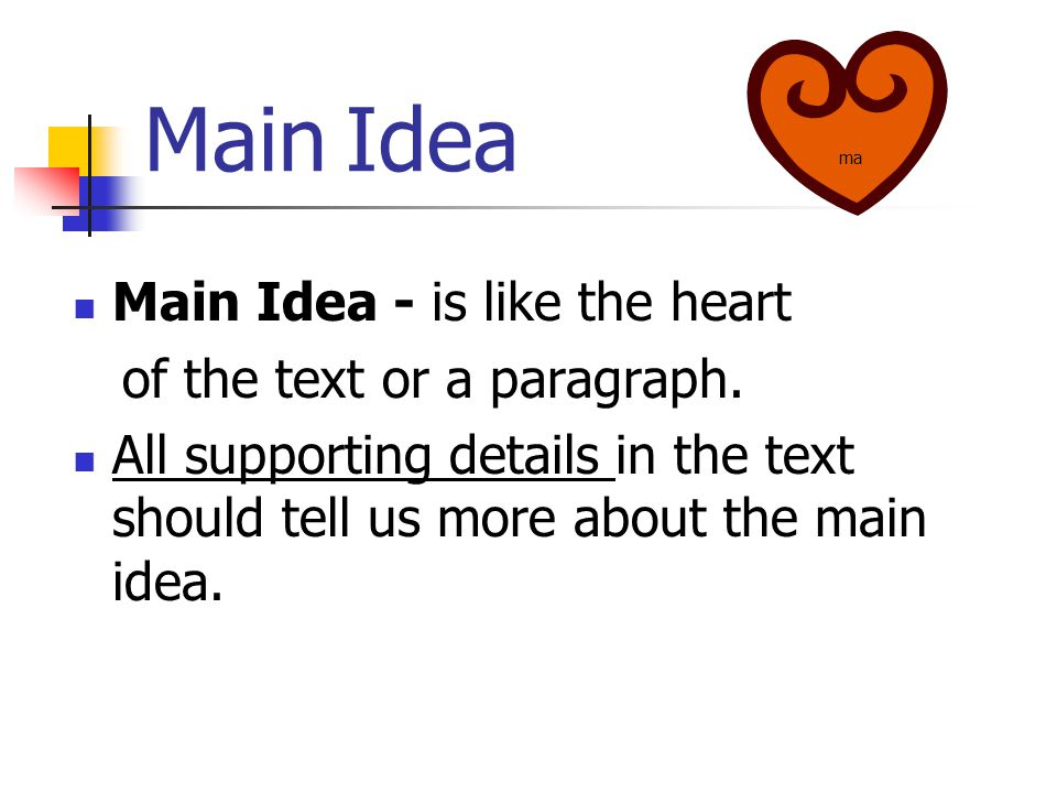 Main Idea Main Idea - is like the heart of the text or a paragraph. All supporting details in the text should tell us more about the main idea. ma