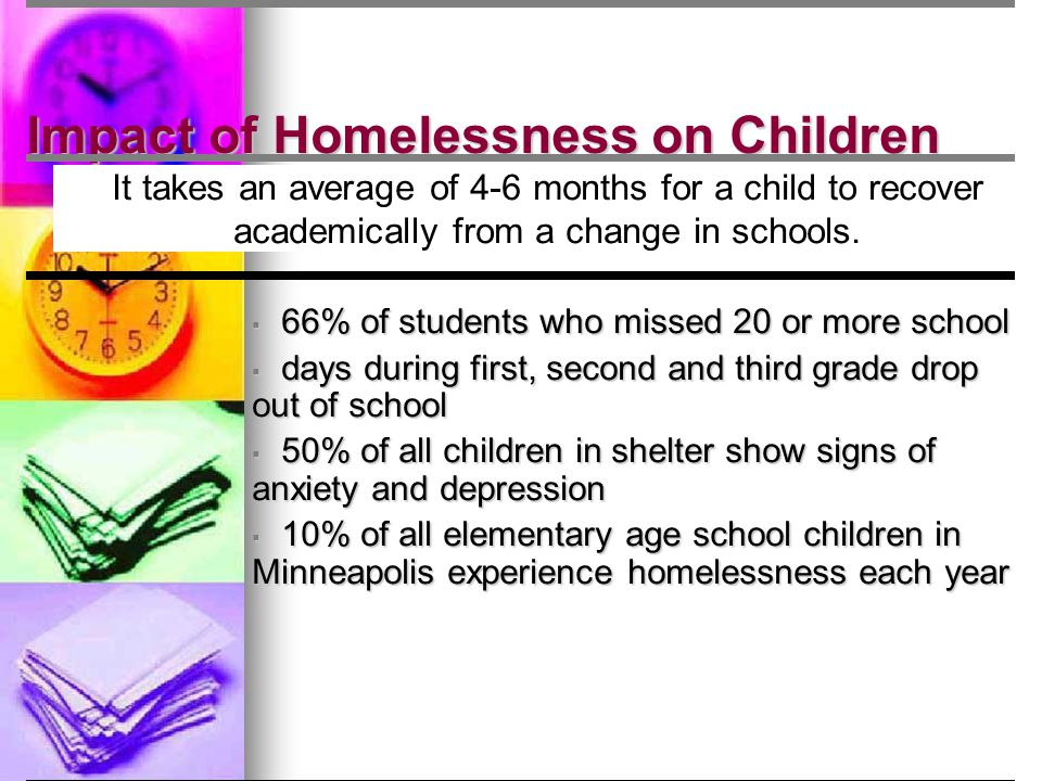 Impact of Homelessness on Children It takes an average of 4-6 months for a child to recover academically from a change in schools. ▪ 66% of students w