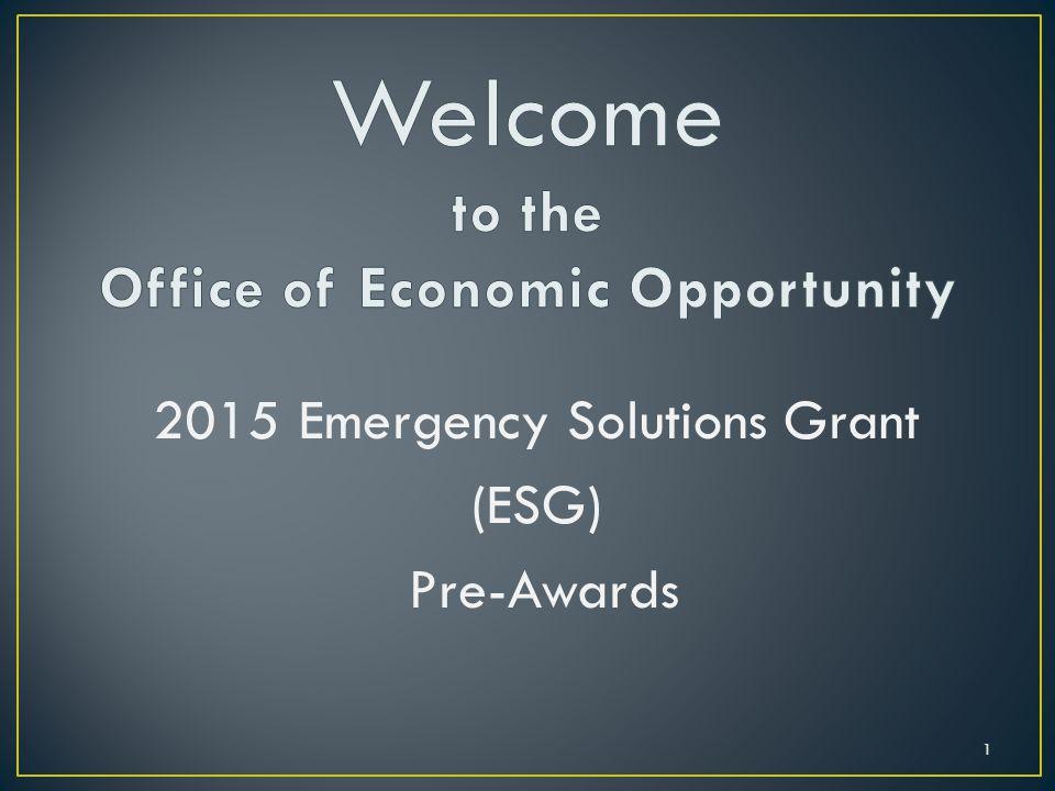 2015 Emergency Solutions Grant (ESG) Pre-Awards 1