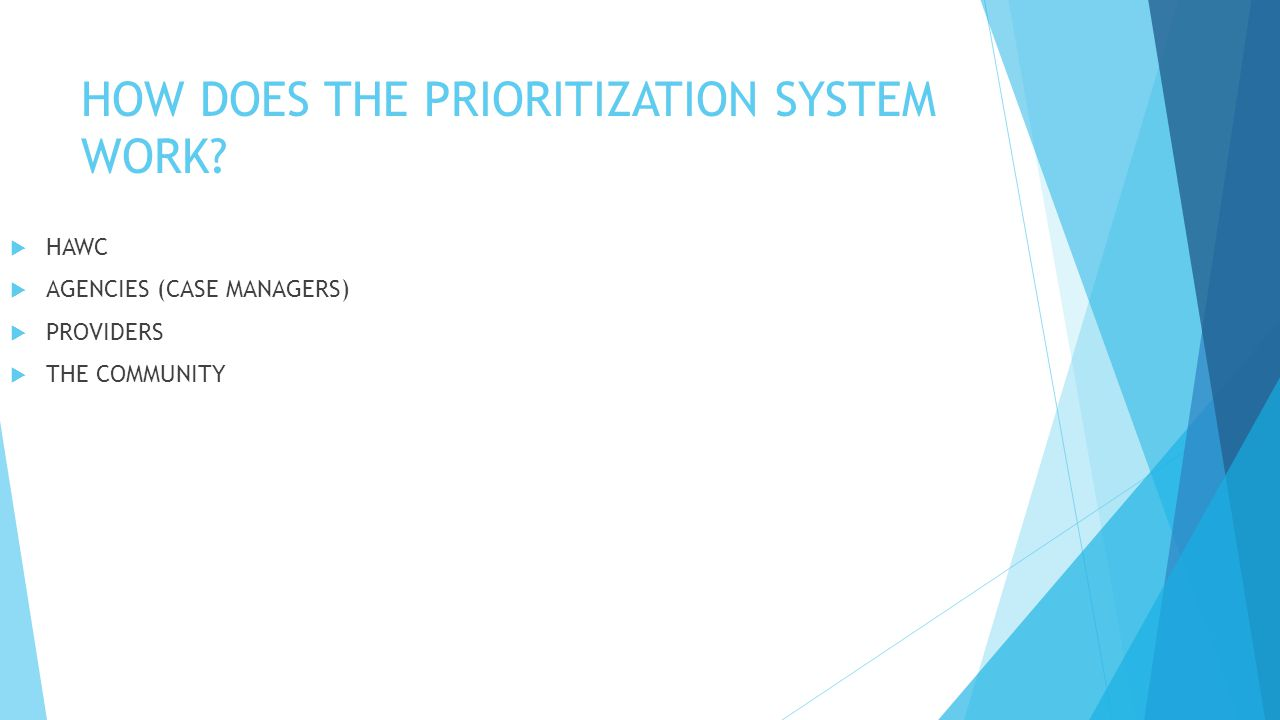 HOW DOES THE PRIORITIZATION SYSTEM WORK.