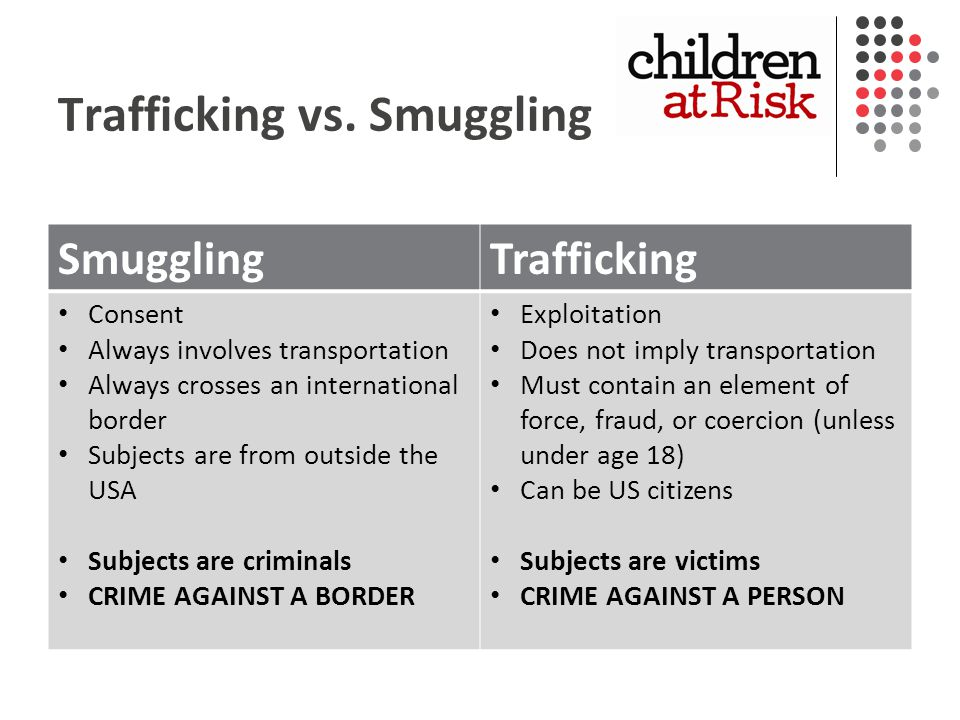 Trafficking vs.