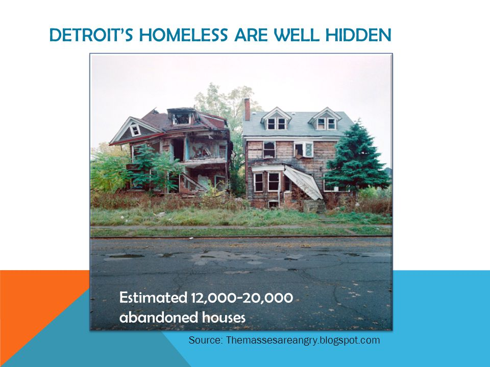 DETROIT'S HOMELESS ARE VULNERABLE * indicates higher than national average Risk indicatorNationallyDetroit Sample Size8575211 Tri-morbid54%51% 3x ER or Hospital last year34%66%* 3x ER last 3 months25%43%* > 60 years old20%13% HIV+/AIDS6%7% Liver Disease19%10% Kidney Disease9% Cold/Wet Weather Injury15%21%* % vulnerable42%51%* * Indicates higher than national average Source : Corporation for Supportive Housing, 2010