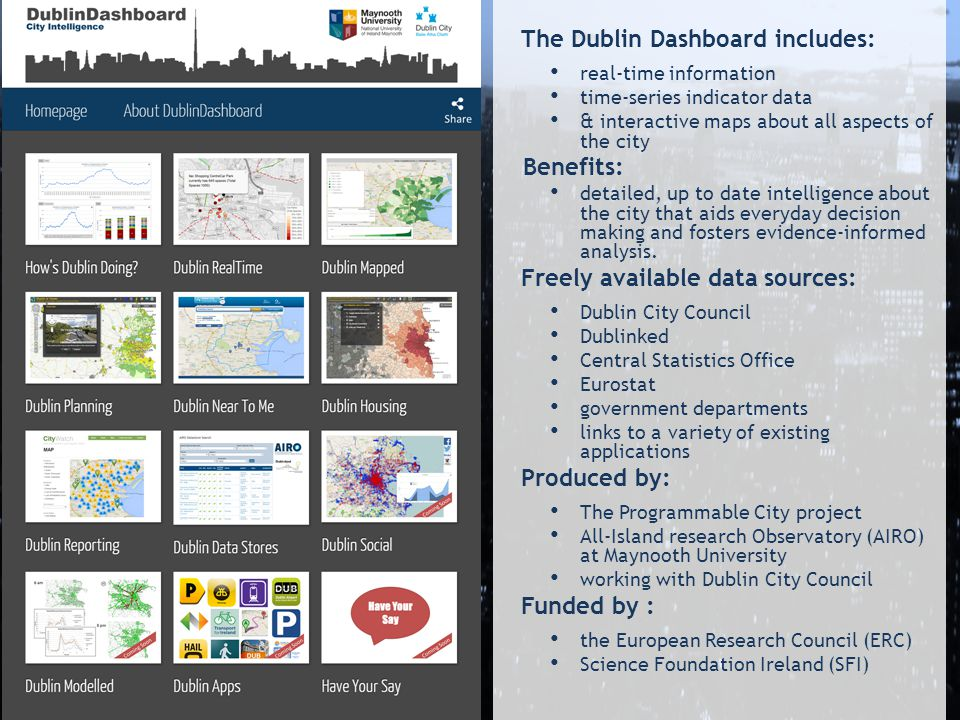 The Dublin Dashboard includes: real-time information time-series indicator data & interactive maps about all aspects of the city Benefits: detailed, up to date intelligence about the city that aids everyday decision making and fosters evidence-informed analysis.