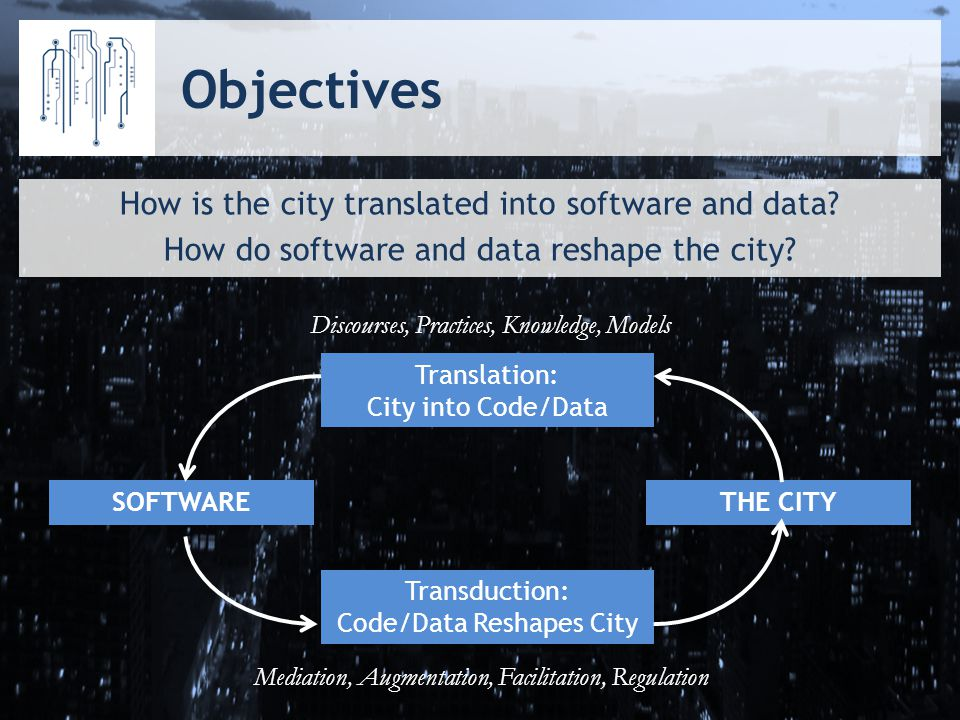 Objectives How is the city translated into software and data.