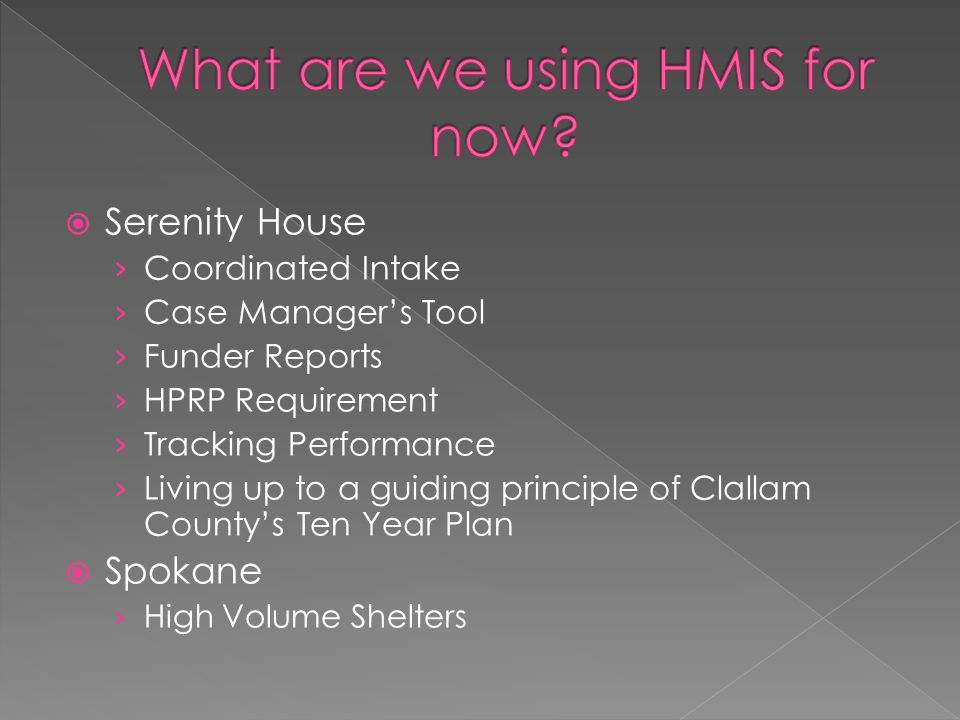  Serenity House › Coordinated Intake › Case Manager's Tool › Funder Reports › HPRP Requirement › Tracking Performance › Living up to a guiding princi