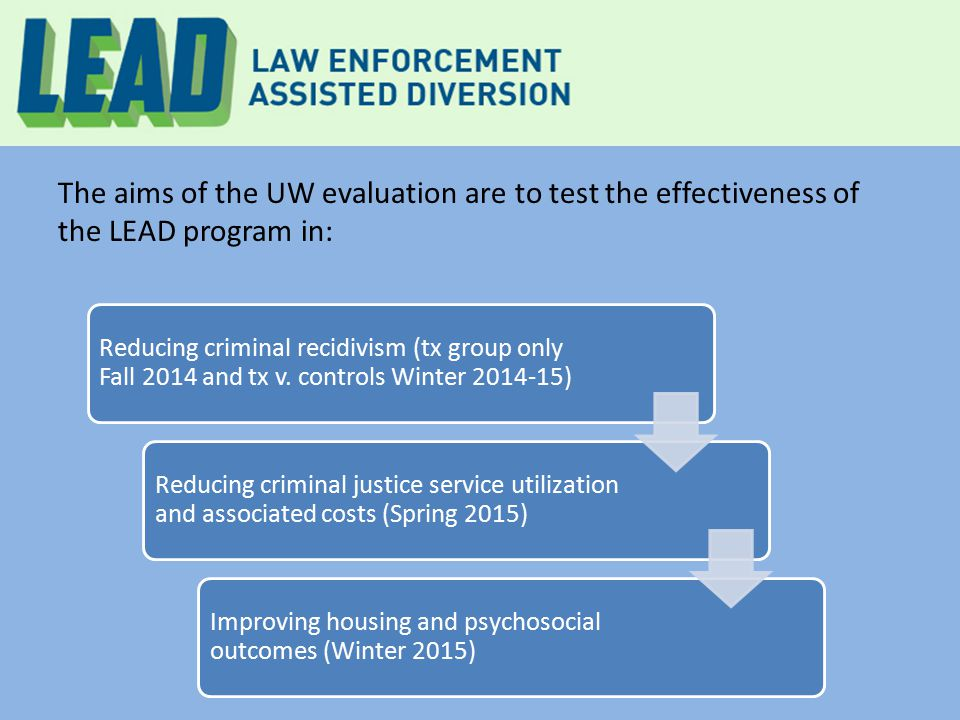 The aims of the UW evaluation are to test the effectiveness of the LEAD program in: Reducing criminal recidivism (tx group only Fall 2014 and tx v.