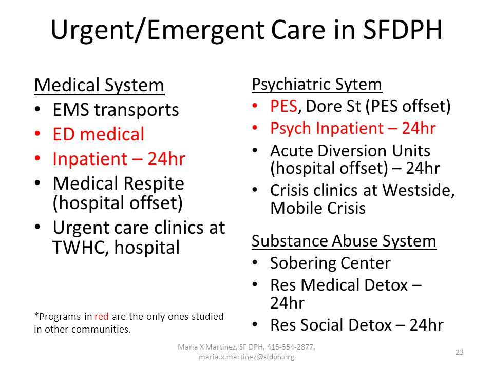 23 Urgent/Emergent Care in SFDPH Medical System EMS transports ED medical Inpatient – 24hr Medical Respite (hospital offset) Urgent care clinics at TW
