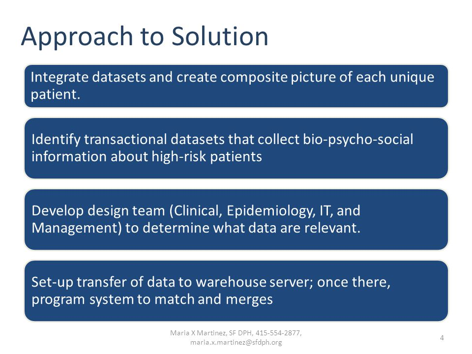 Approach to Solution Integrate datasets and create composite picture of each unique patient. Identify transactional datasets that collect bio-psycho-s