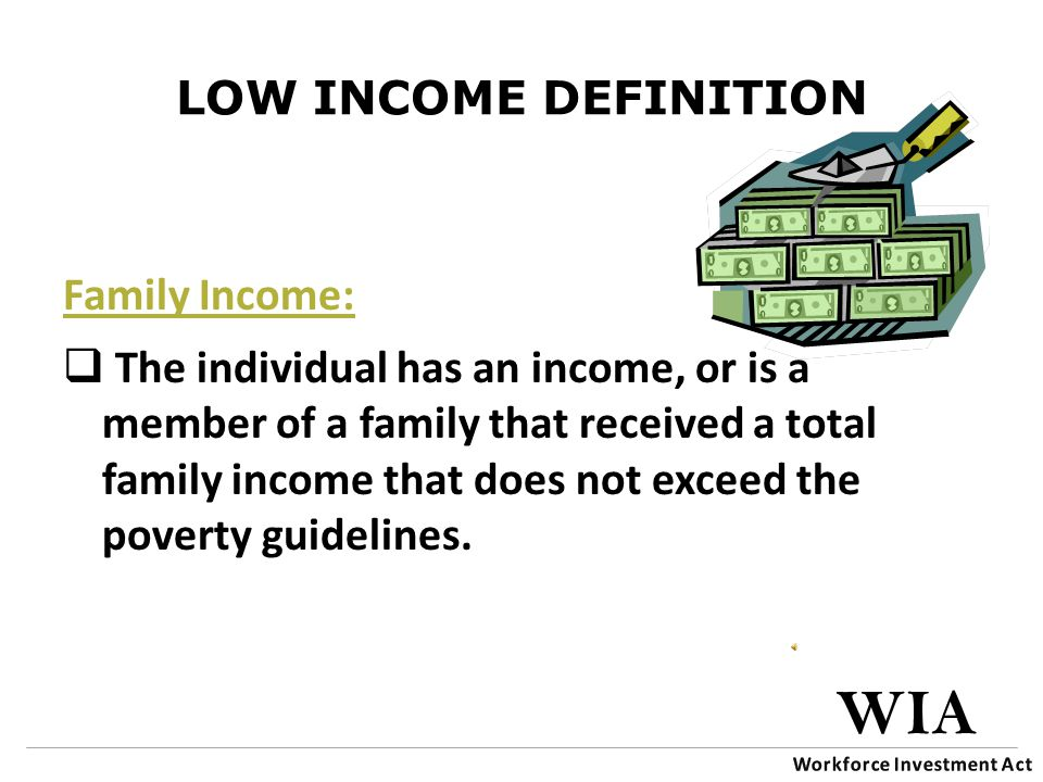 LOW INCOME DEFINITION Family Income:  The individual has an income, or is a member of a family that received a total family income that does not exceed the poverty guidelines.