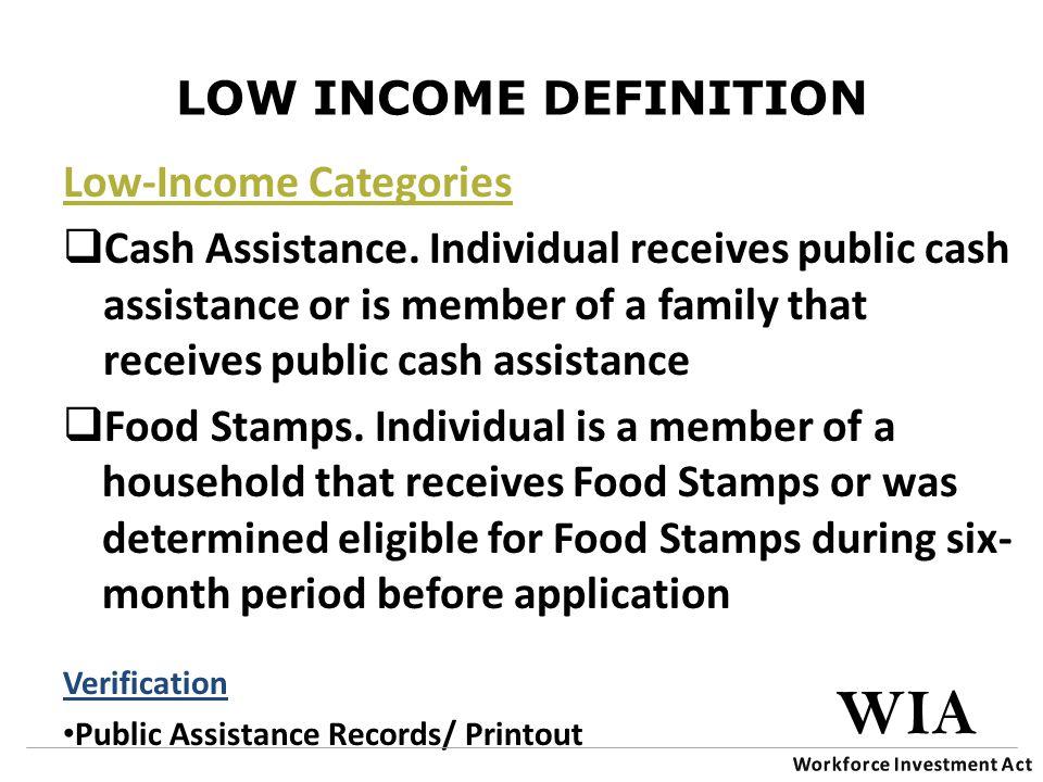 LOW INCOME DEFINITION Low-Income Categories  Cash Assistance.