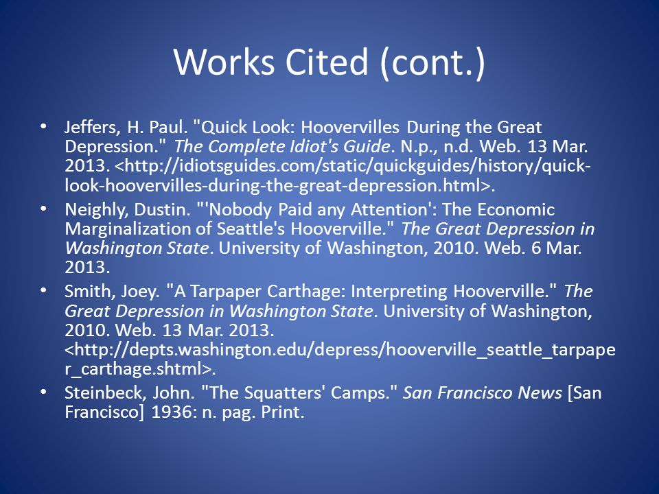 Works Cited (cont.) Jeffers, H. Paul.