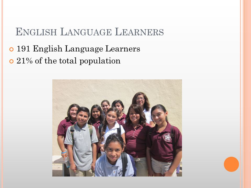 E NGLISH L ANGUAGE L EARNERS 191 English Language Learners 21% of the total population