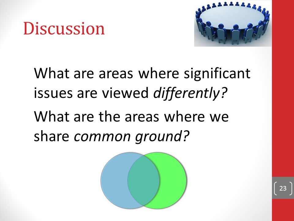 Discussion What are areas where significant issues are viewed differently.