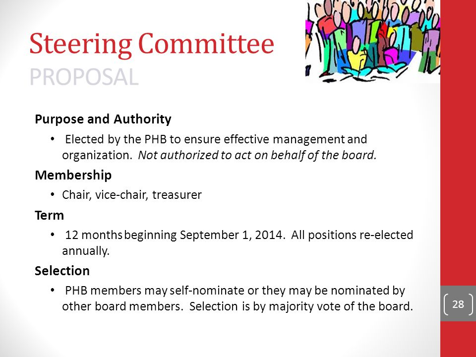 Steering Committee PROPOSAL Purpose and Authority Elected by the PHB to ensure effective management and organization.