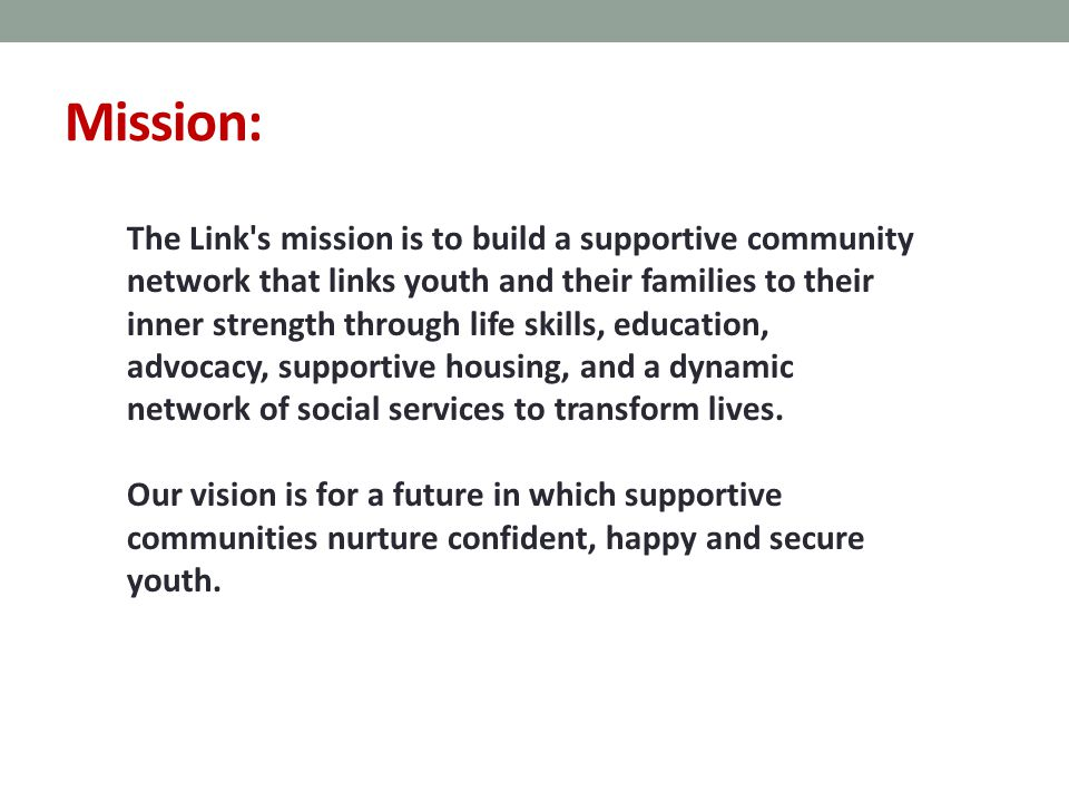 Mission: The Link s mission is to build a supportive community network that links youth and their families to their inner strength through life skills, education, advocacy, supportive housing, and a dynamic network of social services to transform lives.