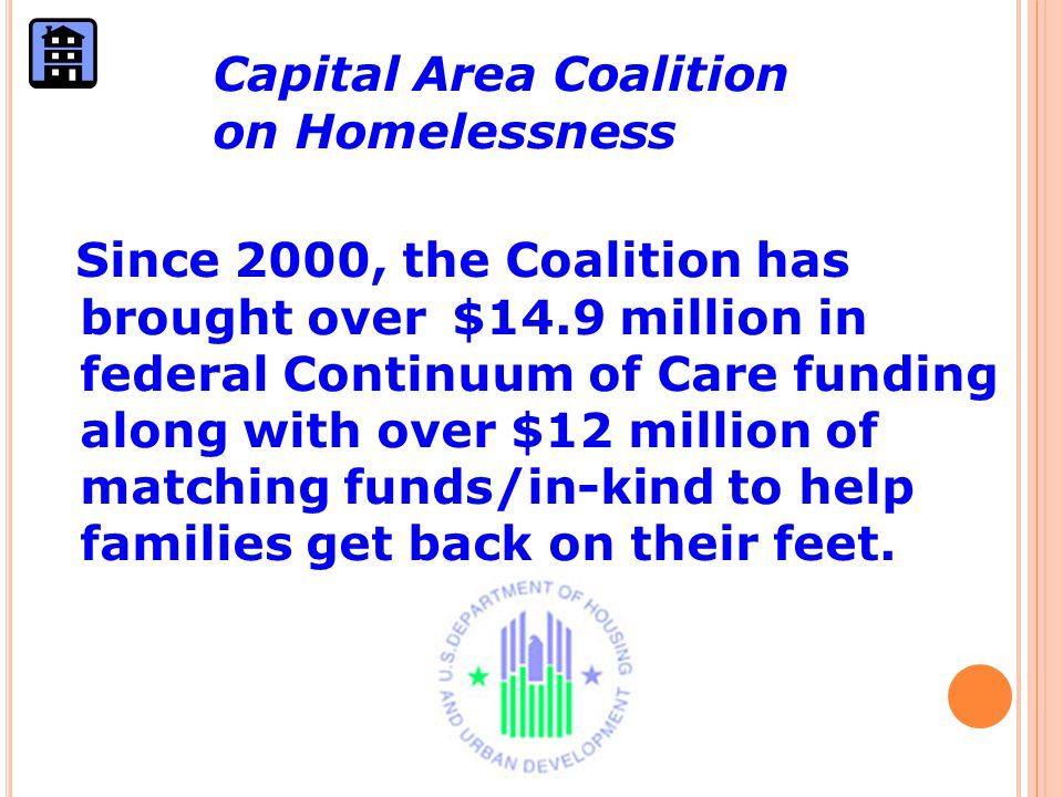 Since 2000, the Coalition has brought over $14.9 million in federal Continuum of Care funding along with over $12 million of matching funds/in-kind to