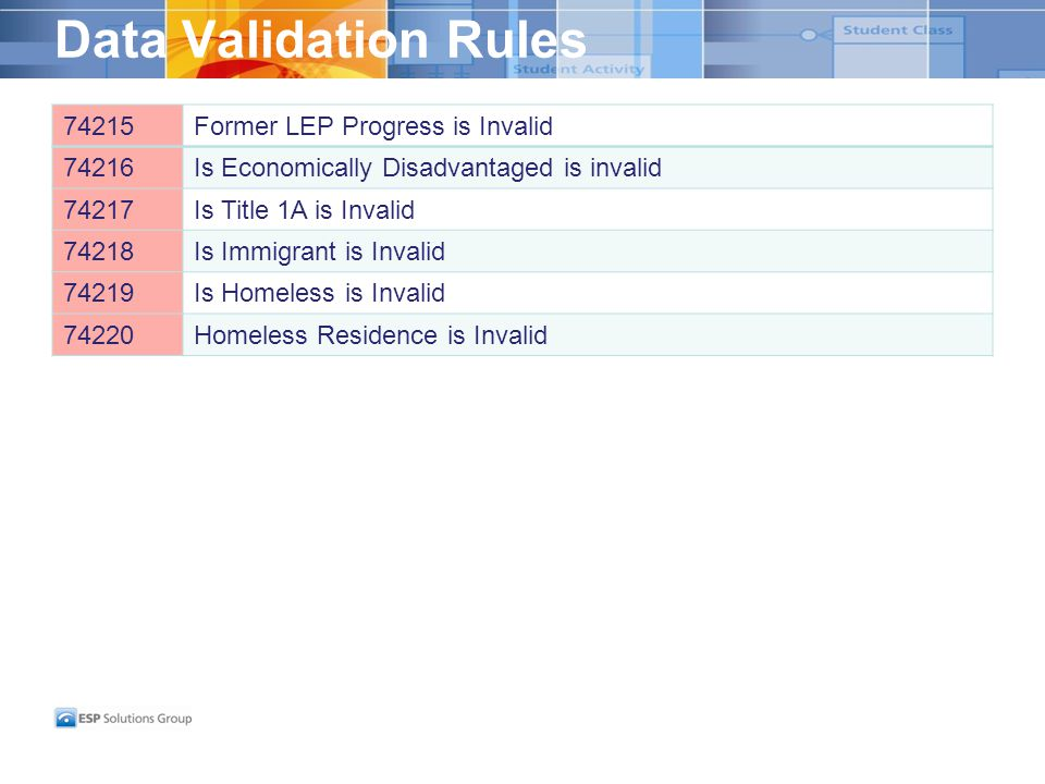 Data Validation Rules 74215Former LEP Progress is Invalid 74216Is Economically Disadvantaged is invalid 74217Is Title 1A is Invalid 74218Is Immigrant