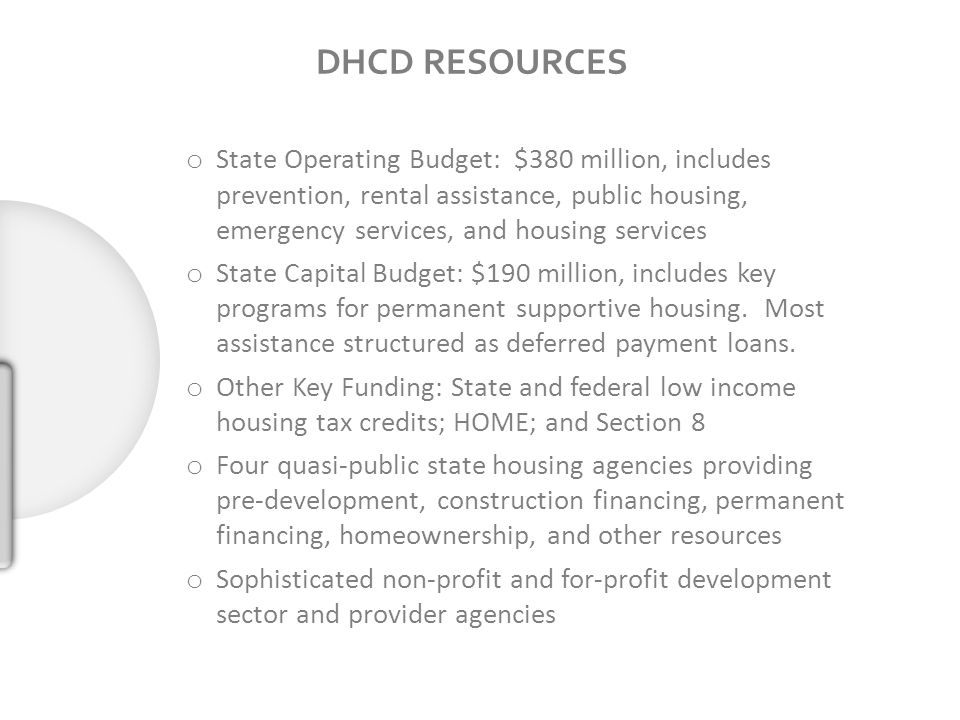 DHCD RESOURCES o State Operating Budget: $380 million, includes prevention, rental assistance, public housing, emergency services, and housing services o State Capital Budget: $190 million, includes key programs for permanent supportive housing.