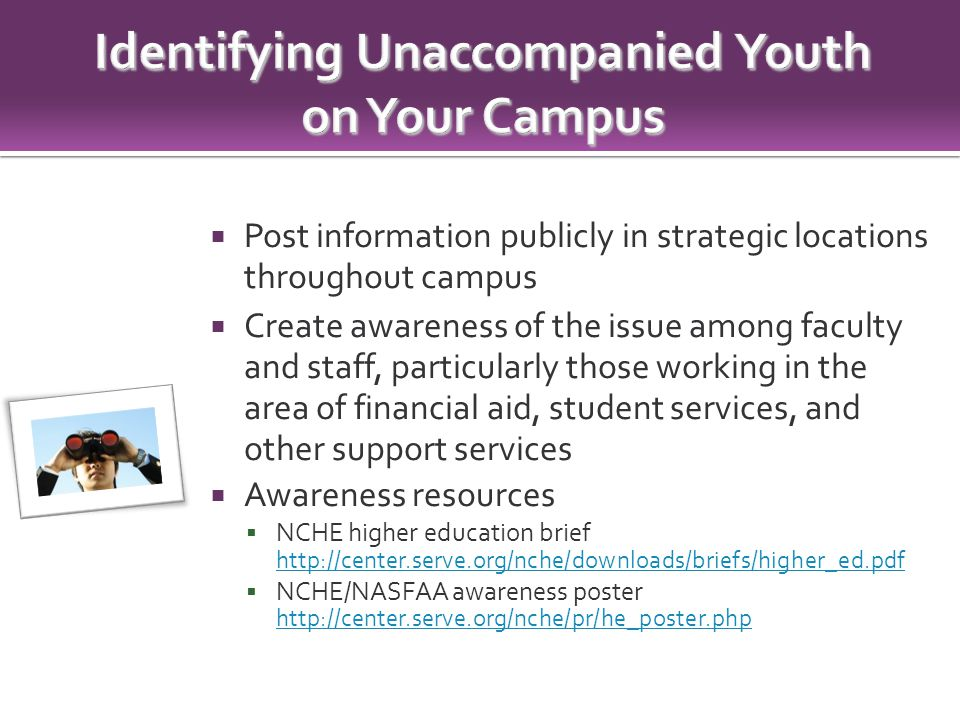  Post information publicly in strategic locations throughout campus  Create awareness of the issue among faculty and staff, particularly those working in the area of financial aid, student services, and other support services  Awareness resources  NCHE higher education brief http://center.serve.org/nche/downloads/briefs/higher_ed.pdf http://center.serve.org/nche/downloads/briefs/higher_ed.pdf  NCHE/NASFAA awareness poster http://center.serve.org/nche/pr/he_poster.php http://center.serve.org/nche/pr/he_poster.php