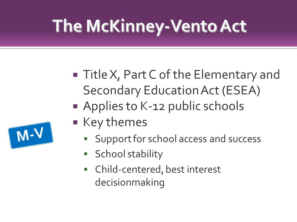  Title X, Part C of the Elementary and Secondary Education Act (ESEA)  Applies to K-12 public schools  Key themes  Support for school access and success  School stability  Child-centered, best interest decisionmaking M-V
