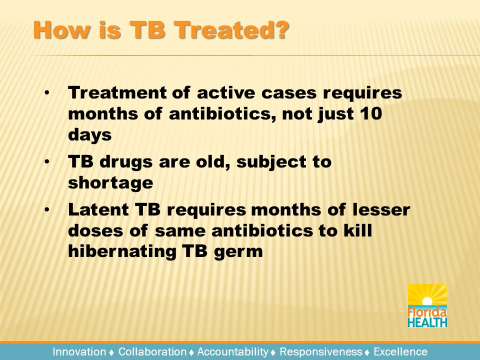 Innovation   Collaboration   Accountability   Responsiveness   Excellence How is TB Treated.