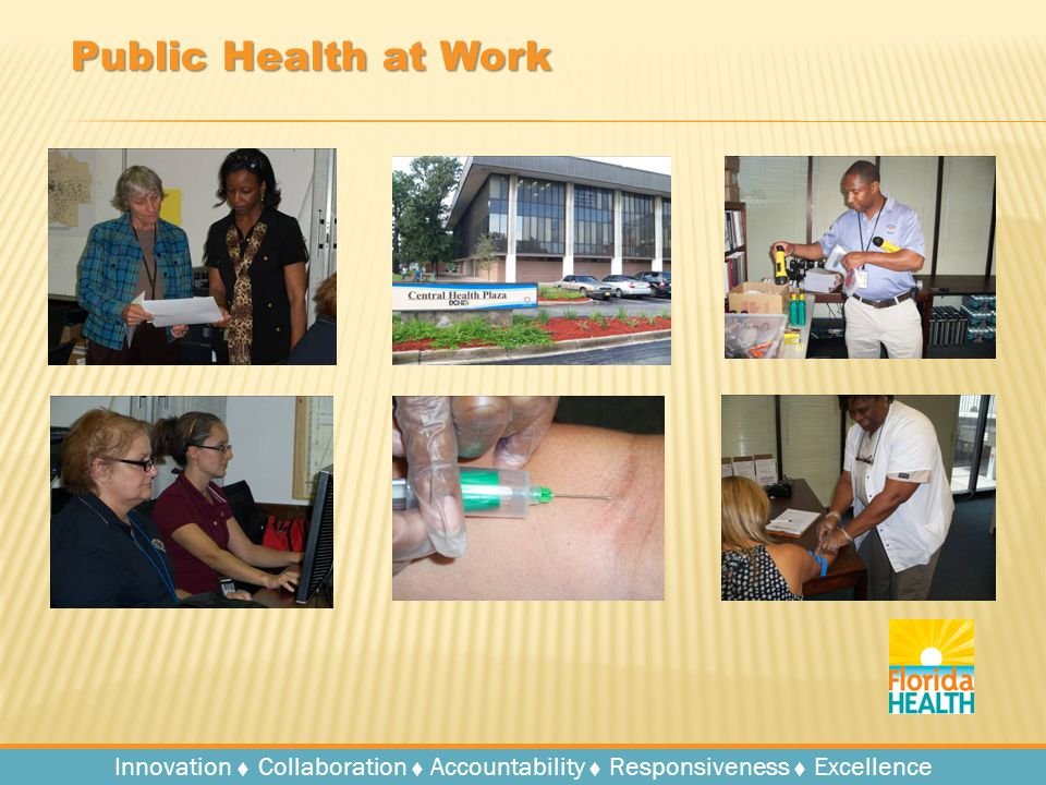 Innovation   Collaboration   Accountability   Responsiveness   Excellence Public Health at Work