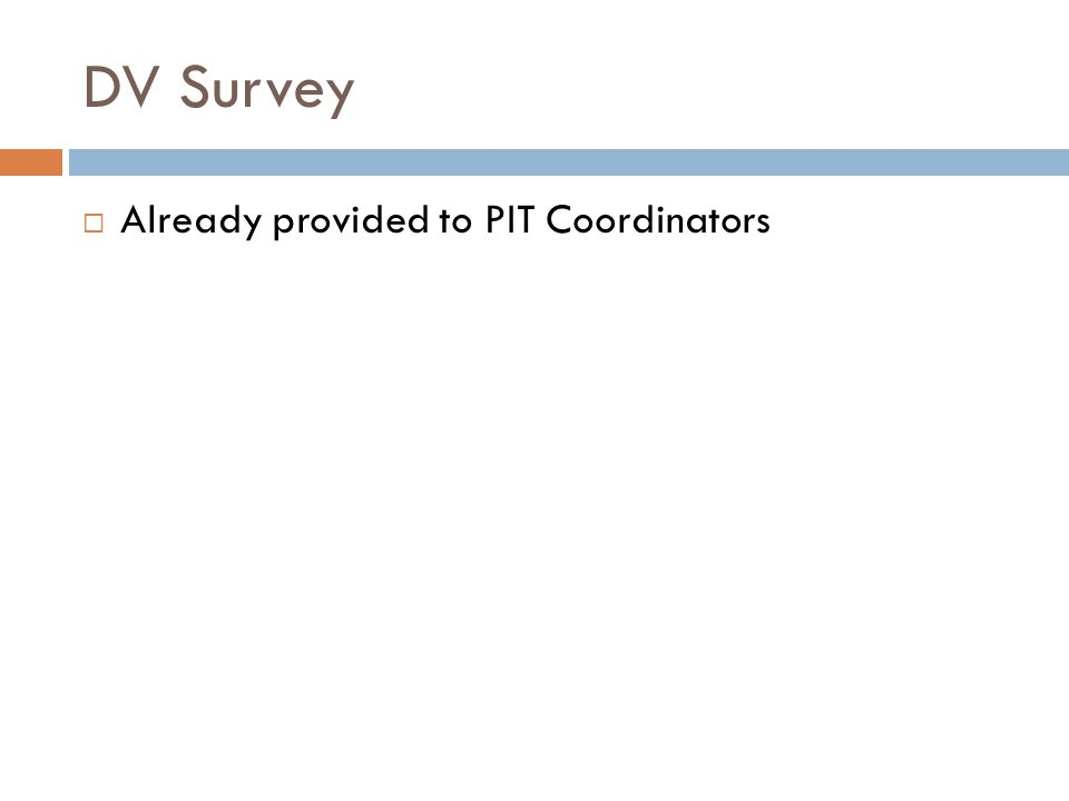 DV Survey  Already provided to PIT Coordinators