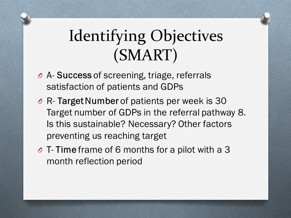 Identifying Objectives (SMART) O A- Success of screening, triage, referrals satisfaction of patients and GDPs O R- Target Number of patients per week is 30 Target number of GDPs in the referral pathway 8.