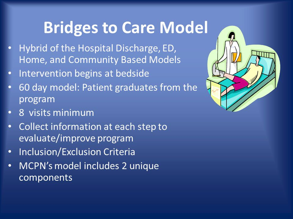 Bridges to Care Model Hybrid of the Hospital Discharge, ED, Home, and Community Based Models Intervention begins at bedside 60 day model: Patient graduates from the program 8 visits minimum Collect information at each step to evaluate/improve program Inclusion/Exclusion Criteria MCPN's model includes 2 unique components
