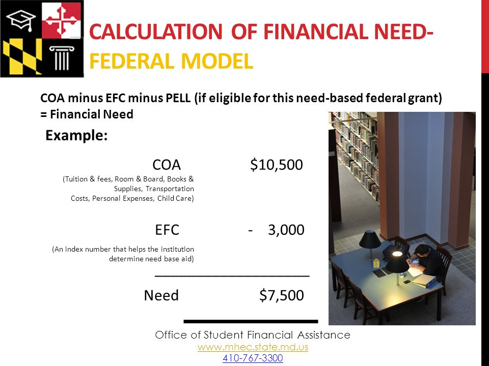 CALCULATION OF FINANCIAL NEED- FEDERAL MODEL COA minus EFC minus PELL (if eligible for this need-based federal grant) = Financial Need Example: COA$10,500 EFC - 3,000 ___________________ Need $7,500 (Tuition & fees, Room & Board, Books & Supplies, Transportation Costs, Personal Expenses, Child Care) (An index number that helps the institution determine need base aid) Office of Student Financial Assistance www.mhec.state.md.us 410-767-3300 www.mhec.state.md.us