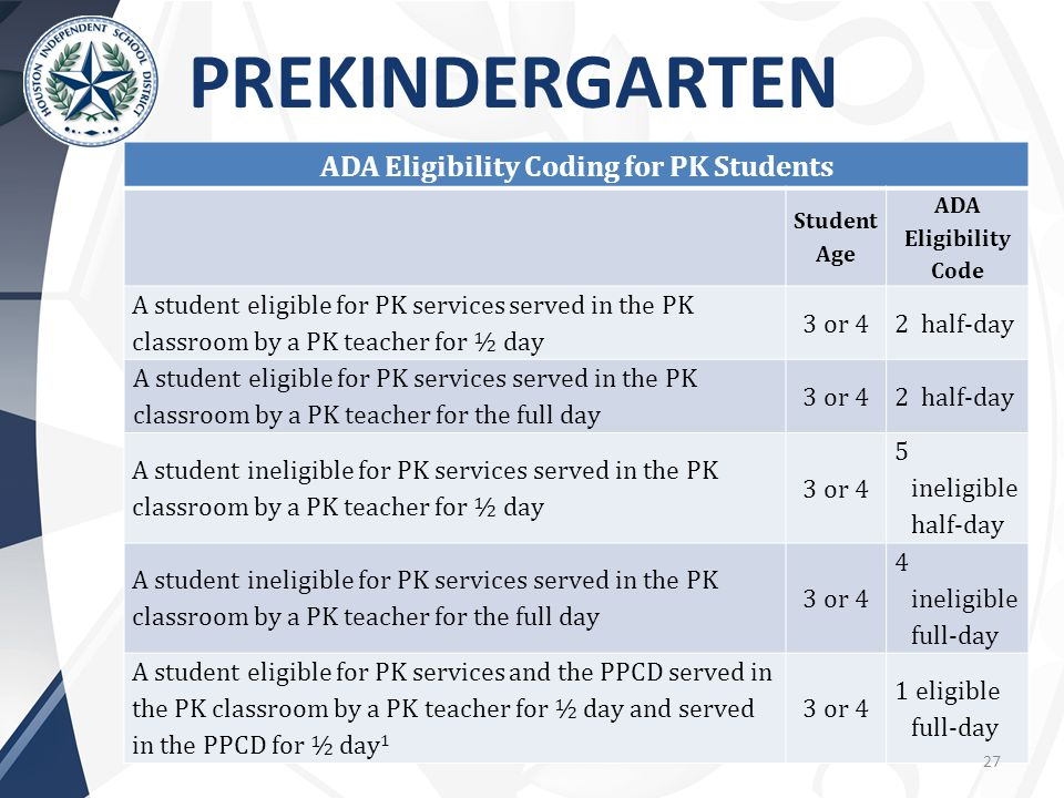 ADA Eligibility Coding for PK Students Student Age ADA Eligibility Code A student eligible for PK services served in the PK classroom by a PK teacher for ½ day 3 or 42 half-day A student eligible for PK services served in the PK classroom by a PK teacher for the full day 3 or 42 half-day A student ineligible for PK services served in the PK classroom by a PK teacher for ½ day 3 or 4 5 ineligible half-day A student ineligible for PK services served in the PK classroom by a PK teacher for the full day 3 or 4 4 ineligible full-day A student eligible for PK services and the PPCD served in the PK classroom by a PK teacher for ½ day and served in the PPCD for ½ day 1 3 or 4 1 eligible full-day PREKINDERGARTEN 27