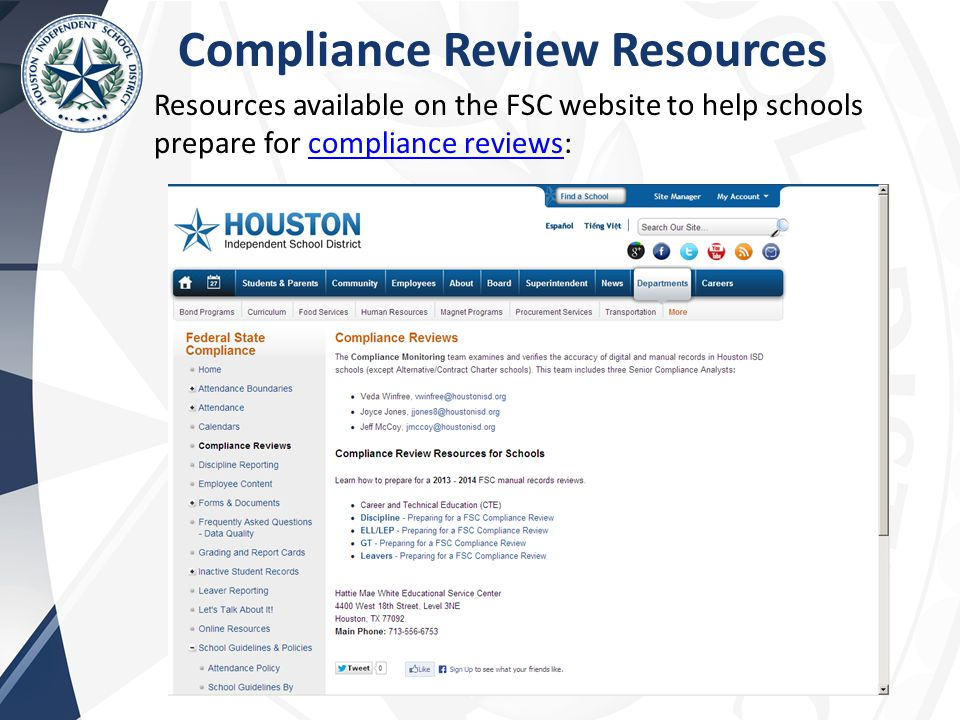 Compliance Review Resources Resources available on the FSC website to help schools prepare for compliance reviews:compliance reviews
