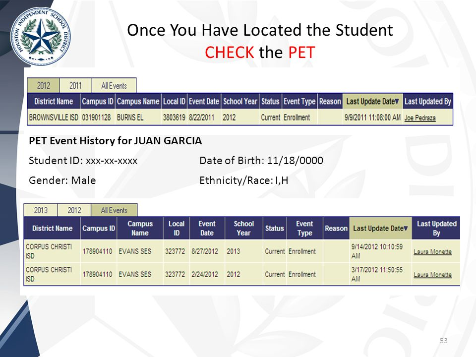 53 Once You Have Located the Student CHECK the PET PET Event History for JUAN GARCIA Student ID: xxx-xx-xxxx Gender: Male Date of Birth: 11/18/0000 Ethnicity/Race: I,H