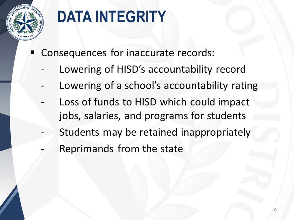  Consequences for inaccurate records: -Lowering of HISD's accountability record -Lowering of a school's accountability rating -Loss of funds to HISD which could impact jobs, salaries, and programs for students -Students may be retained inappropriately -Reprimands from the state DATA INTEGRITY 6