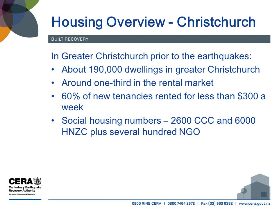 Housing Overview - Christchurch In Greater Christchurch prior to the earthquakes: About 190,000 dwellings in greater Christchurch Around one-third in