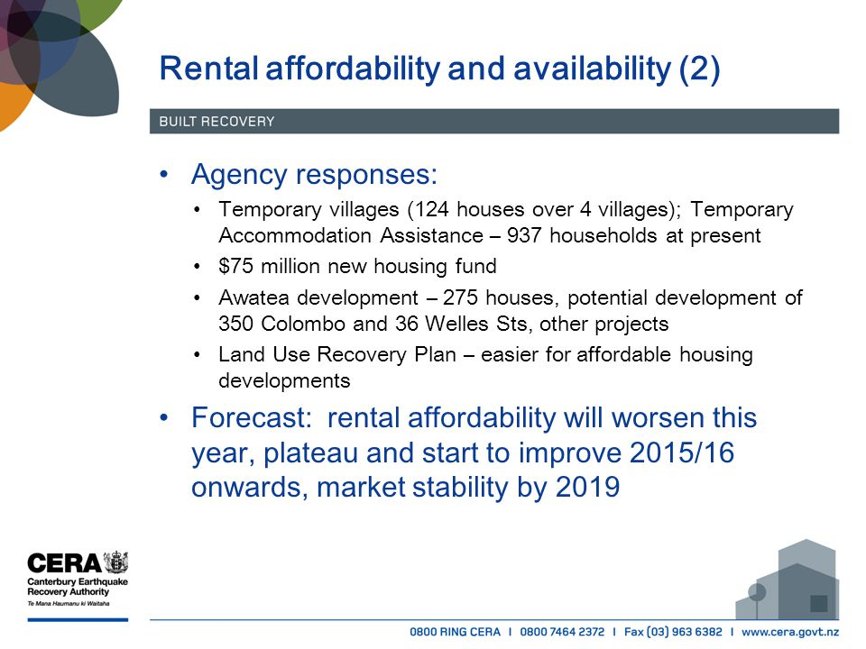 Rental affordability and availability (2) Agency responses: Temporary villages (124 houses over 4 villages); Temporary Accommodation Assistance – 937