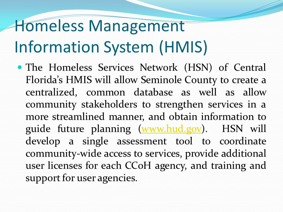 Homeless Management Information System (HMIS) The Homeless Services Network (HSN) of Central Florida's HMIS will allow Seminole County to create a cen