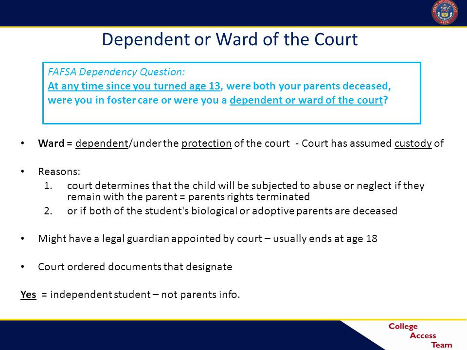Dependent or Ward of the Court Ward = dependent/under the protection of the court - Court has assumed custody of Reasons: 1.court determines that the child will be subjected to abuse or neglect if they remain with the parent = parents rights terminated 2.or if both of the student s biological or adoptive parents are deceased Might have a legal guardian appointed by court – usually ends at age 18 Court ordered documents that designate Yes = independent student – not parents info.