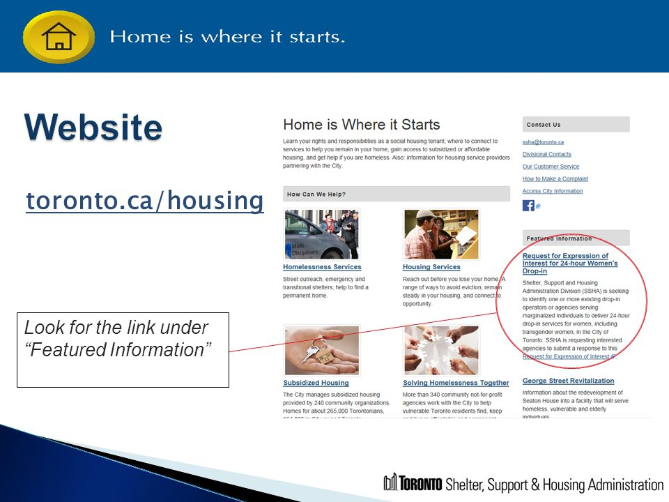 "toronto.ca/housing Look for the link under ""Featured Information"""
