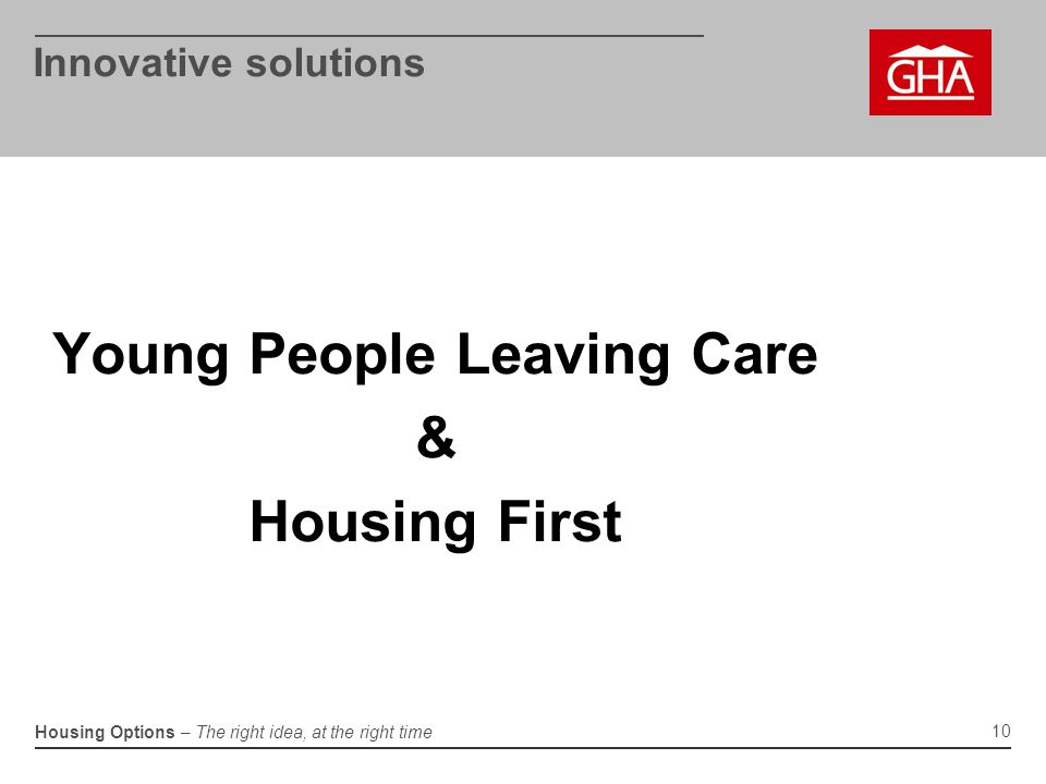 Housing Options – The right idea, at the right time Innovative solutions Young People Leaving Care & Housing First 10