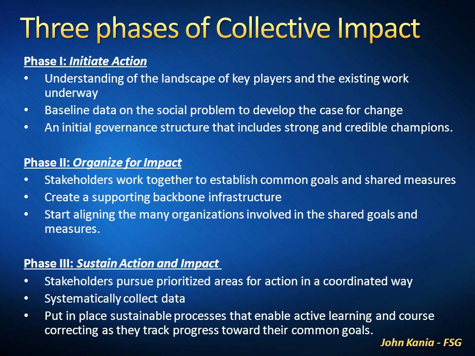 Phase I: Initiate Action Understanding of the landscape of key players and the existing work underway Baseline data on the social problem to develop the case for change An initial governance structure that includes strong and credible champions.