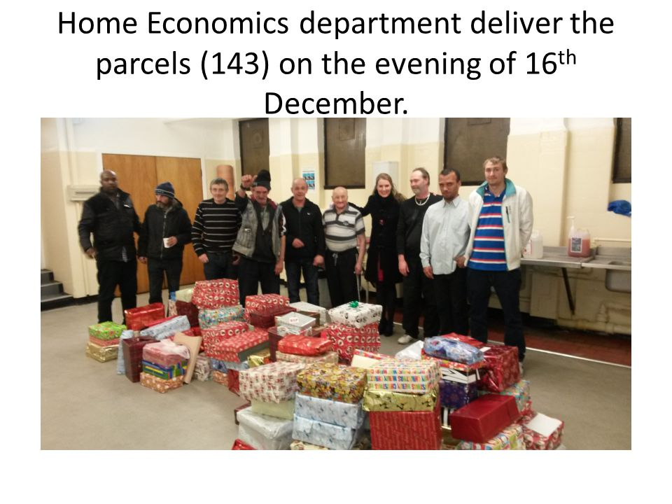 Home Economics department deliver the parcels (143) on the evening of 16 th December.