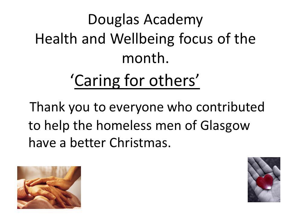 Douglas Academy Health and Wellbeing focus of the month.