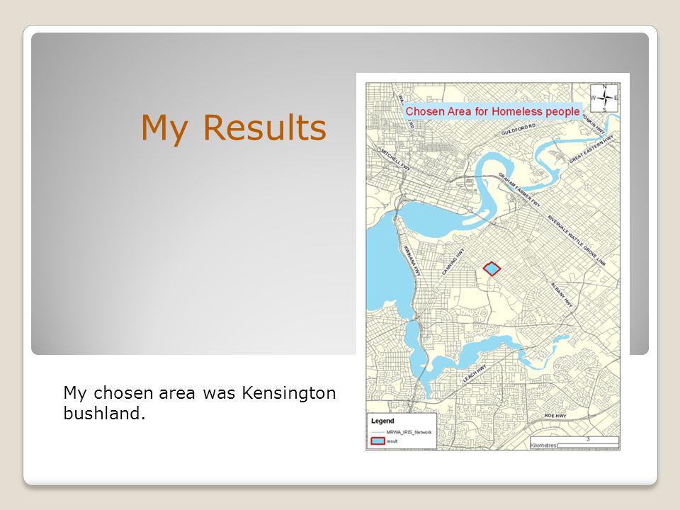 My Results My chosen area was Kensington bushland.