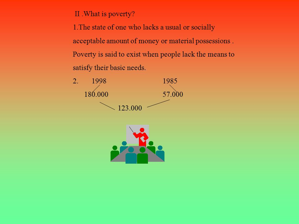 1. What is poverty. Poverty is when people are poor because of bad habits and a lack of money.
