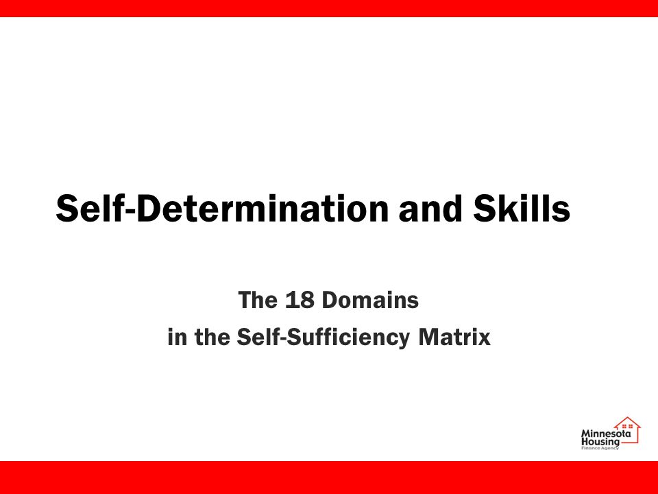 Self-Determination and Skills The 18 Domains in the Self-Sufficiency Matrix