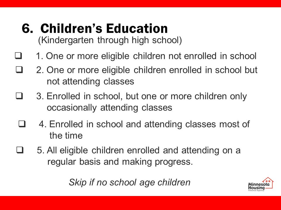 6. Children's Education  1. One or more eligible children not enrolled in school  2.