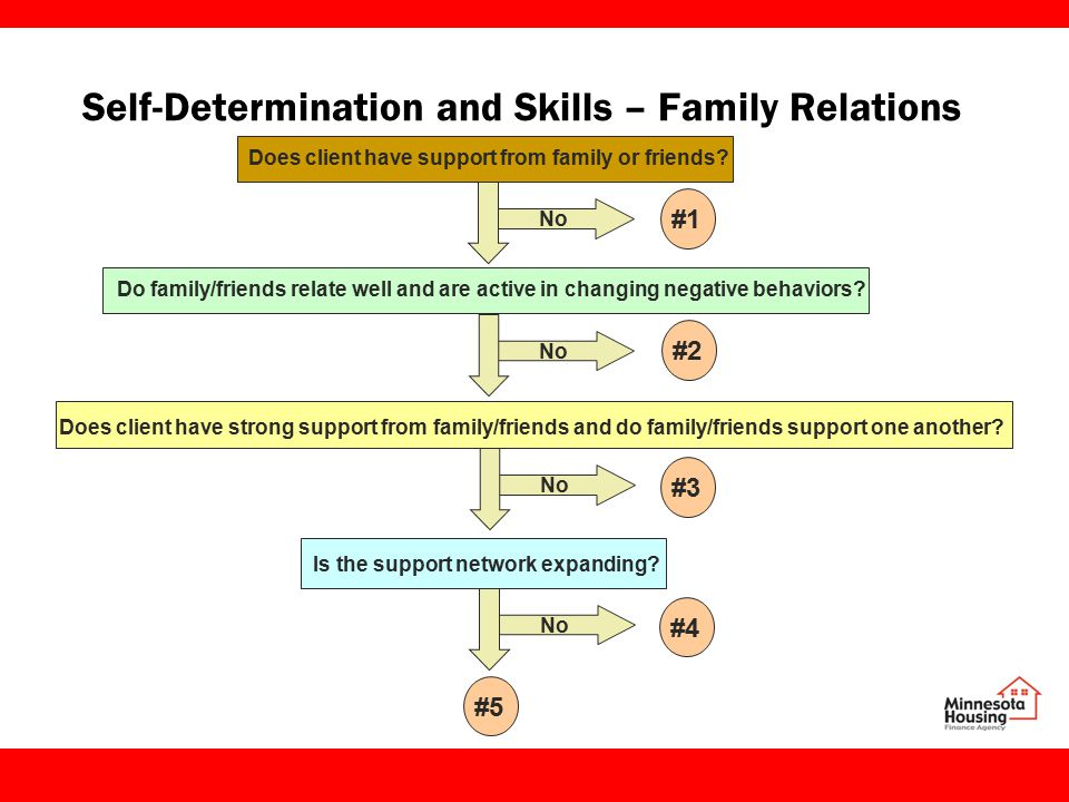Self-Determination and Skills – Family Relations Does client have support from family or friends.
