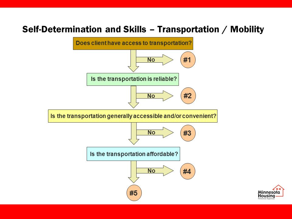 Self-Determination and Skills – Transportation / Mobility Does client have access to transportation.